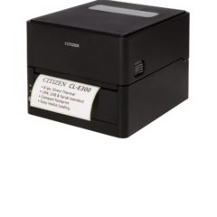 Citizen CL E300 Desktop Label Printer Left Facing With Label