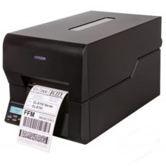 Citizen CL E720 Desktop Label Printer Black Left Facing With Label