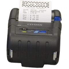 Citizen CMP 20II Mobile Receipt Printer Front Facing With Receipt