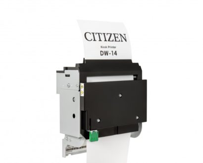 Citizen DW14 Thermal Kiosk Printer from behind back closed paper showing