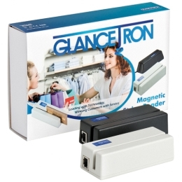 Glancetron 1290 magnetic stripe reader, black and white versions next to box
