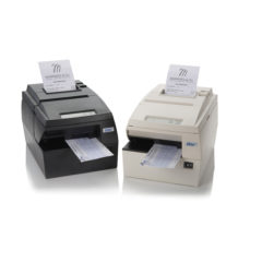 HSP700 hybrid receipt printer front facing dark grey and white versions angled inwards