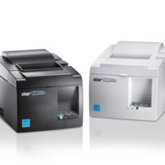 Star TSP100III EPOS Printer black and white versions angled towards each other