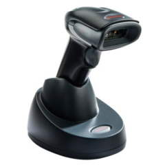 Honeywell Voyager 1452g wireless barcode scanner on stand facing right