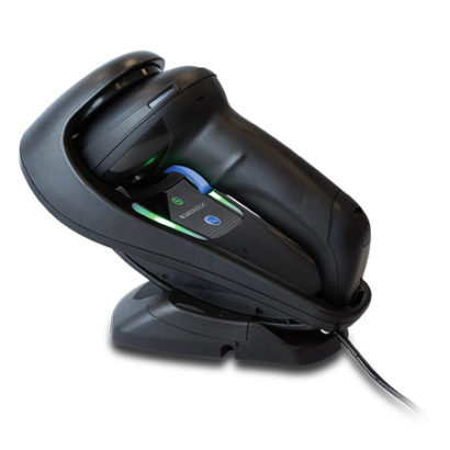 Datalogic Gryphon™ I GD4500 2D Barcode Scanner Black In Stand Left Facing