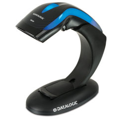 Heron HD3100 Barcode Scanner Blue Black On Standing Facing Left