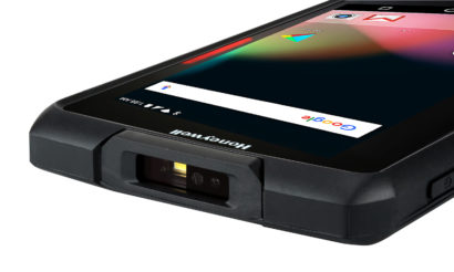 Honeywell Scanpal EDA70 Android Hybrid Handheld Computer facing right close up top screen on
