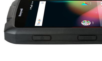Honeywell Scanpal EDA70 Android Hybrid Handheld Computer close up side on turned on