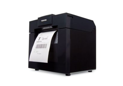 Toshiba TEC DB EA4D Rugged Double Side Printing Label Printer Left Facing With Ticket