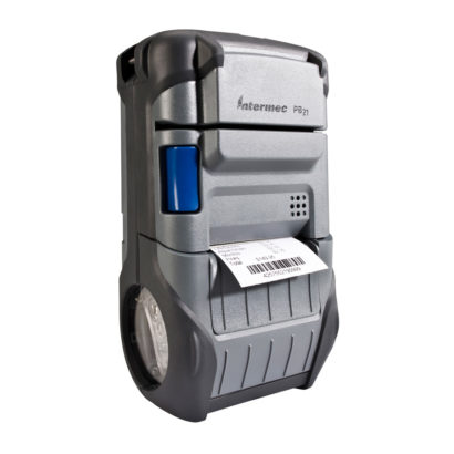 Honeywell PB21 Direct Thermal Portable Receipt Printer Left Facing With Paper