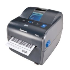Honeywell PC43D Desktop Label Printer left facing with paper