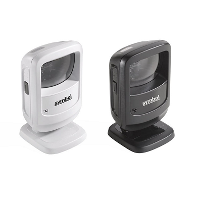 Zebra DS9208 Hands Free Barcode Scanner black and white versions facing right