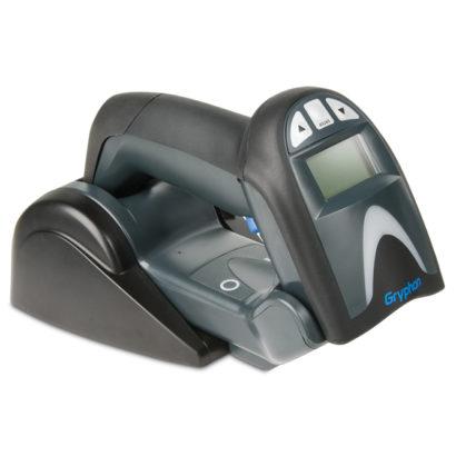 Datalogic Gryphon I GM4100 Linear Imager Barcode Scanner black on stand facing left