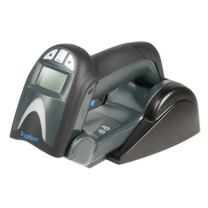 Datalogic Gryphon I GM4100 Linear Imager Barcode Scanner black on stand facing right