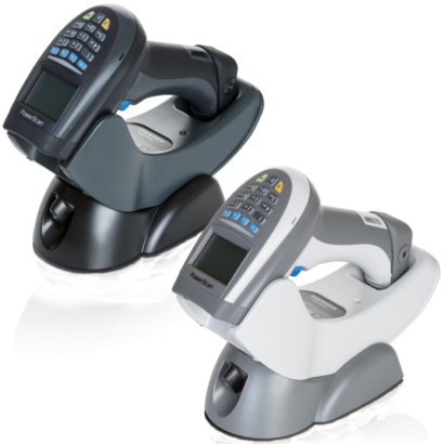 PowerScan PM9500 Barcode Scanner Black And White In Charge Facing Left