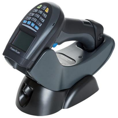PowerScan PM9500 BPowerScan PM9500 Barcode Scanner Black In Charger Facing Leftarcode Scanner Black In Charger Facing Left