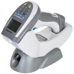 PowerScan PM9500 Barcode Scanner White In Charger Facing Left