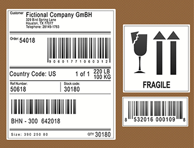 Shipping section Fragile Label